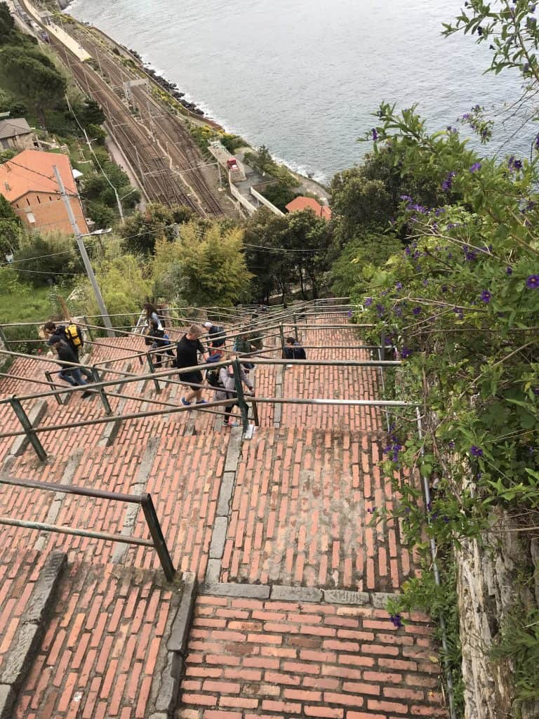 Switchbacks going down to the Corniglia train station on my solo travels to Italy