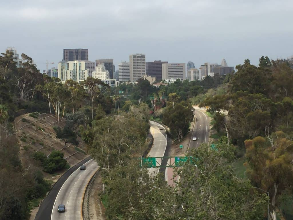 View of San Diego from Park Boulevard Bridge in Balboa Park.