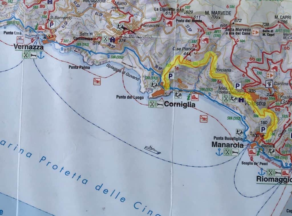 Map of hiking trails in Cinque Terre Italy - perfect for solo travel to Italy