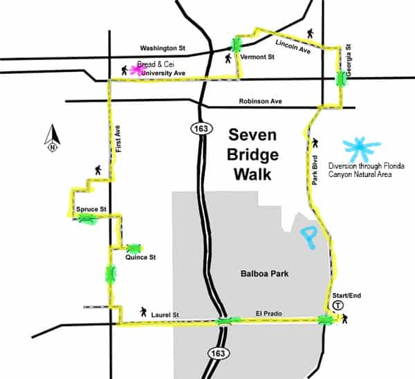 Highlighted map of 7 Bridges Hike San Diego