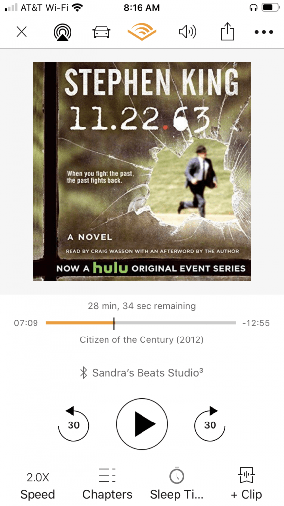 Audible book screen shot for 11.22.63 by Stephen King. On of the best time travel books, fiction