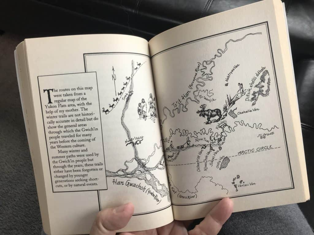 Pen and ink map by Jim Grant of the Alaska region where Two Old Women by Velma Wallis takes place.
