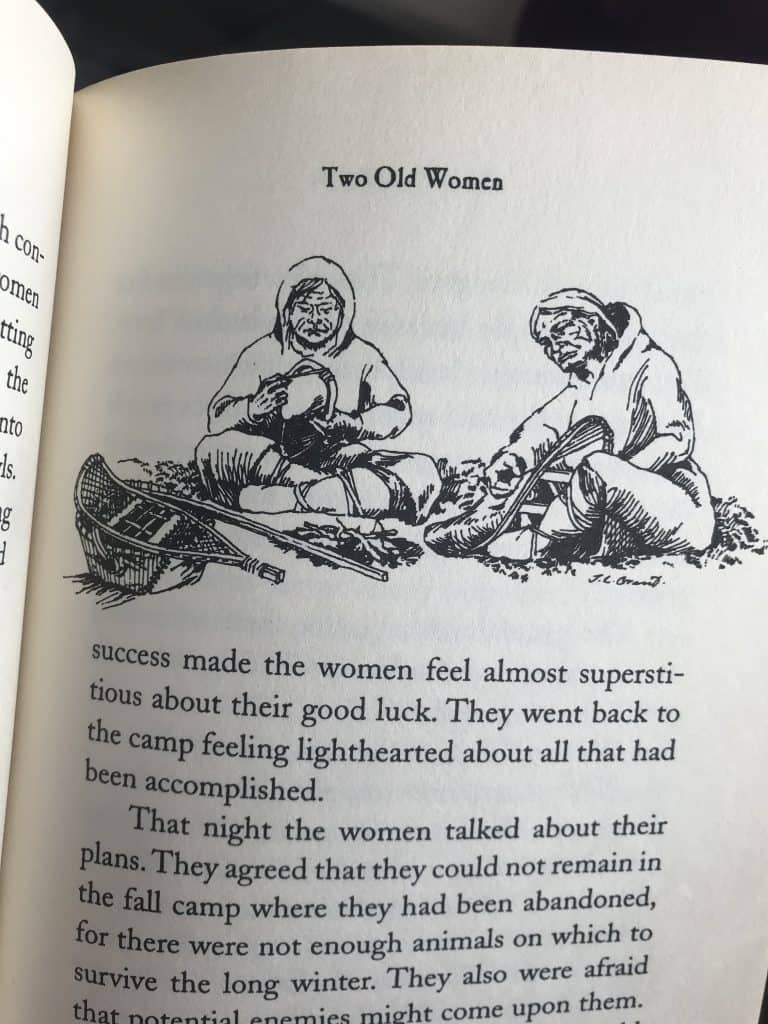 Photo of pen and ink illustrations by Jim Grant in the book Two Old Women, by Velma Wallis