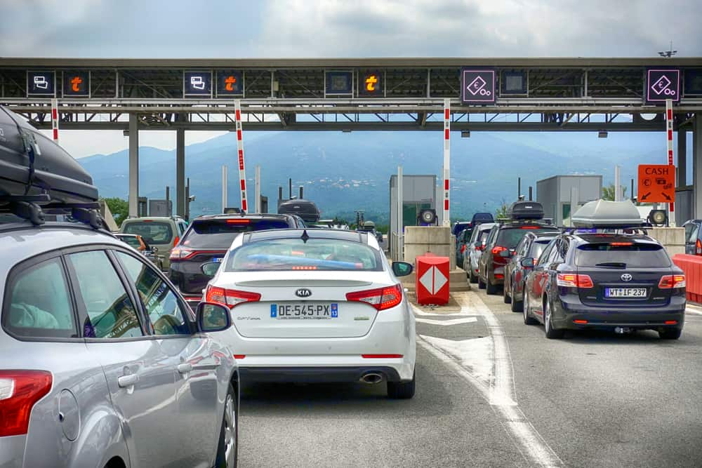 Toll station drivers will see while touring France by car