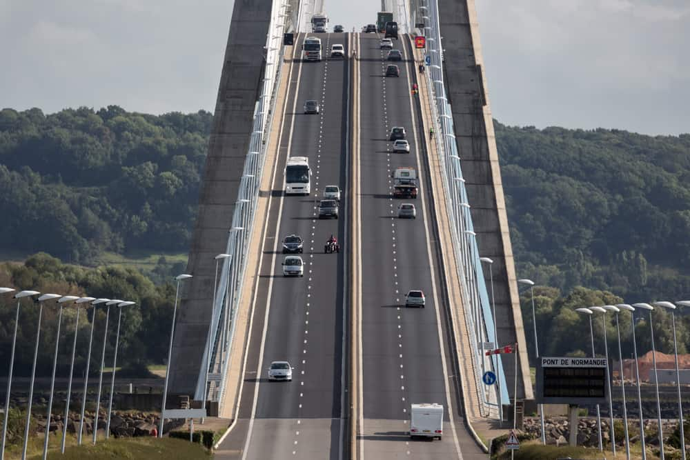 Pont de Normandie bridge - ascending the span while touring France by car