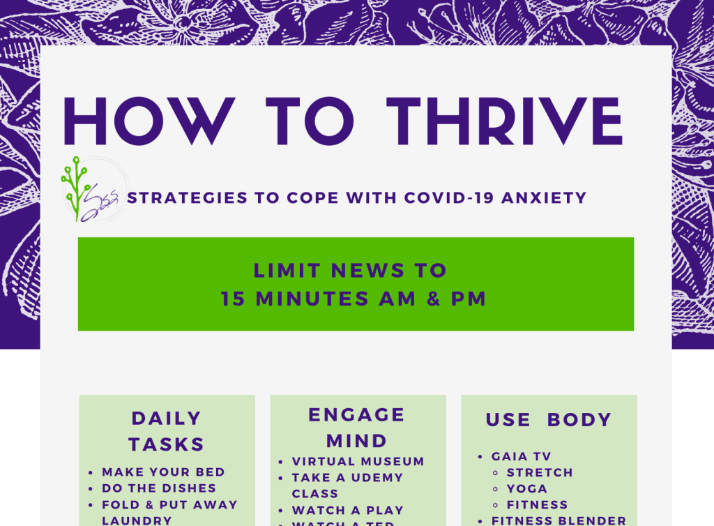 Sneak peak of free printable cheat sheet with ideas on how to survive and thrive during COVID
