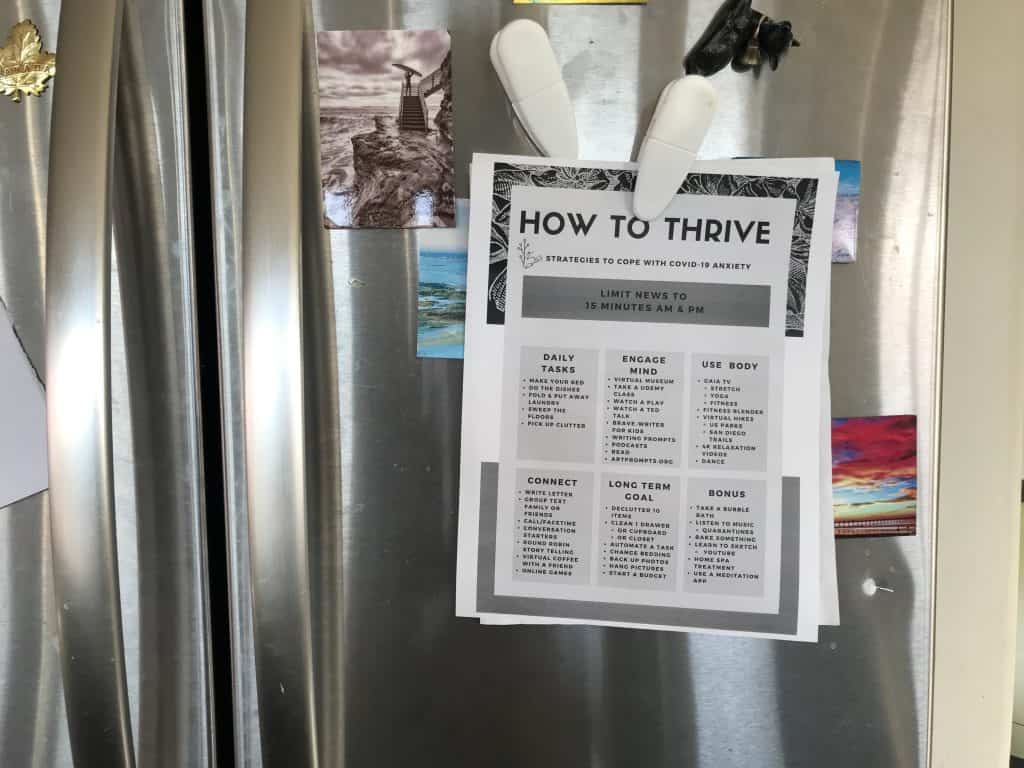 How to thrive Printable posted on refrigerator