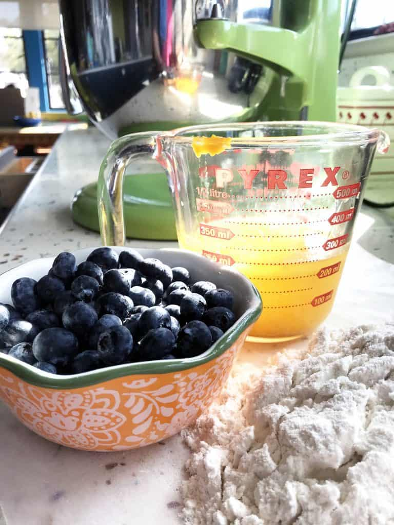 Ingredients for blueberry orange loaf cake