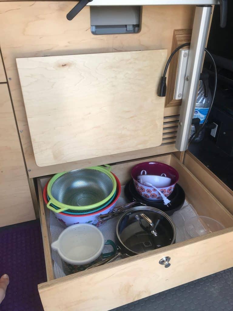 Pots and pans drawer promaster van conversion