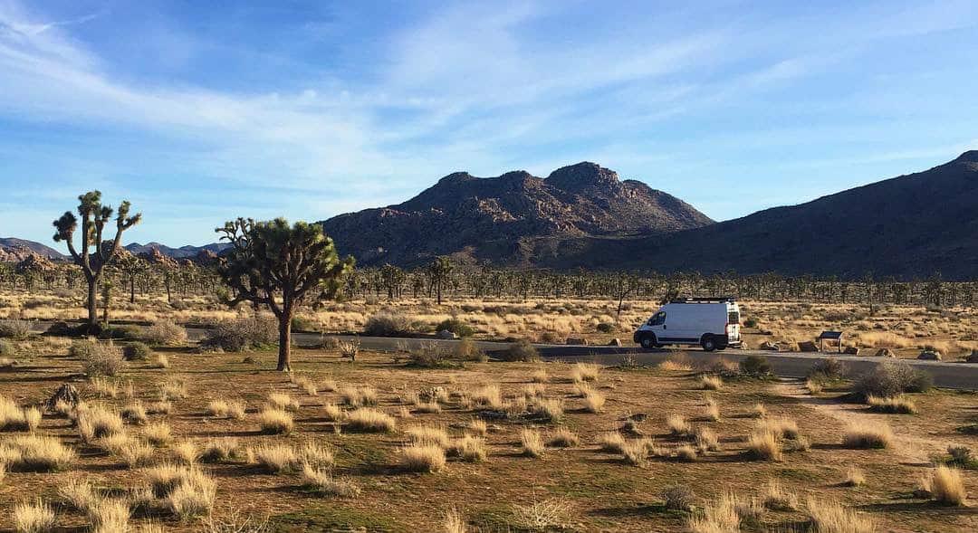 Van driving trough desert