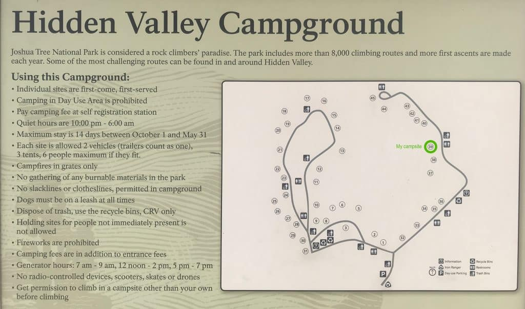 Map of Hidden Valley Campground in Joshua Tree National Park