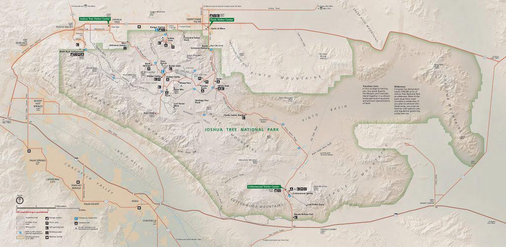 NPS map of Joshua tree National Park