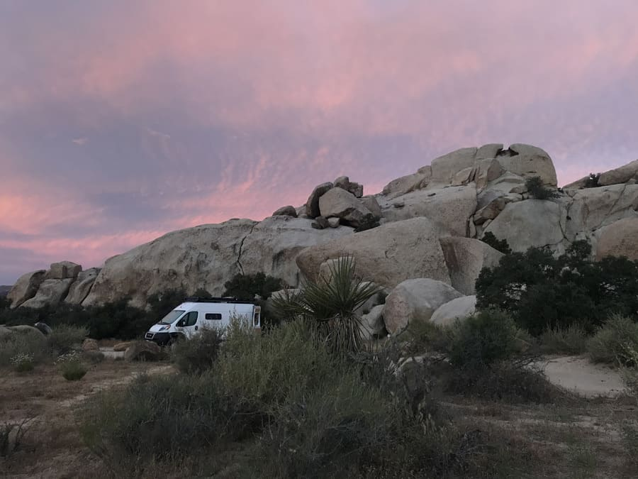 Rosy lavender sunset over - Joshua Tree RV Camping