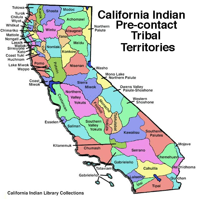 Map of California indian tribal territories.