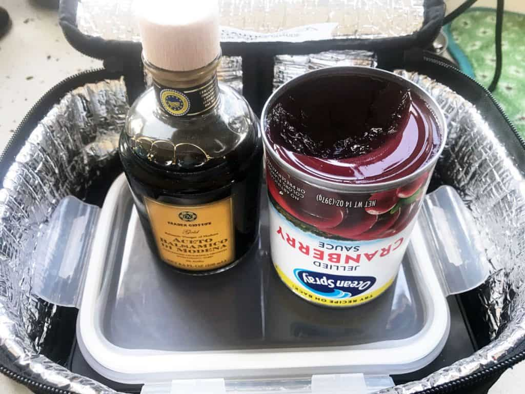 Ingredients for cranberry balsamic glaze sitting in a Hot Logic Mini