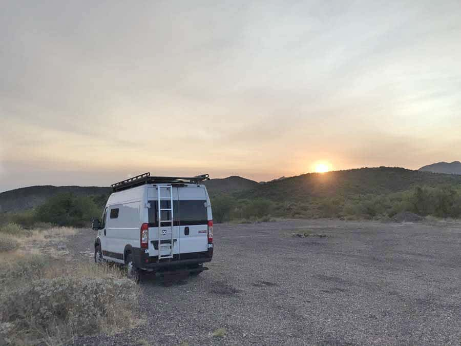 Black Rock City, AZ. Promaster van boondocking.  Free camping in AZ. Women camping alone.