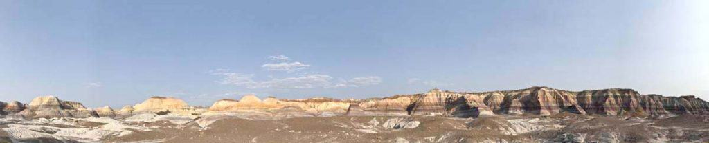 Blue mesa panorama. A perfect hike in The Petrified Forest for women camping alone to take.