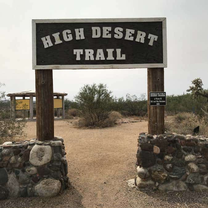 High Desert Trail sign in Black ROck City AZ.  Great easy hike for a solo-female campers and hikers.