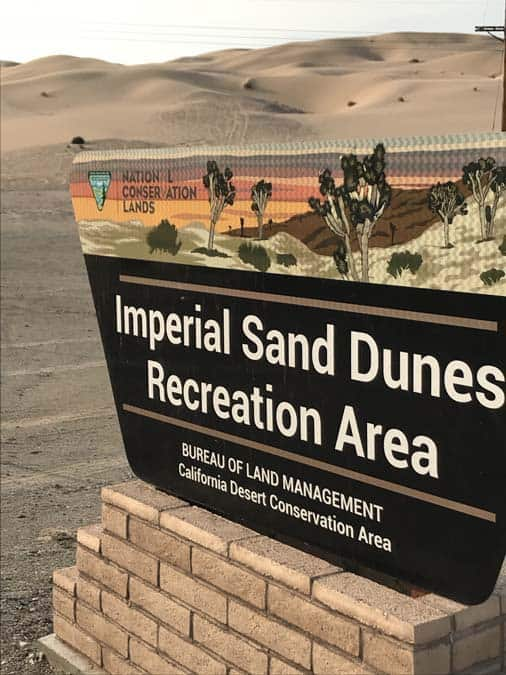Imperial Sand Dunes Recreation Area sign.