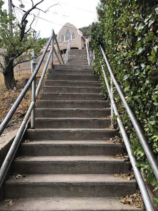 Jerome, Arizona cross street stairs.