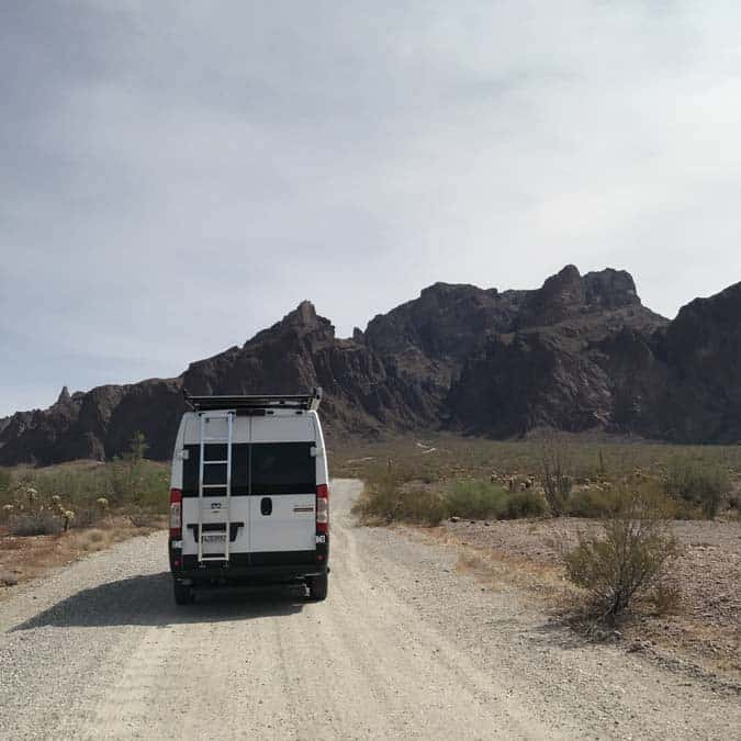 Dirt road leading up to Palm Kanyon in Kofa NWR. With converted Promaster van.