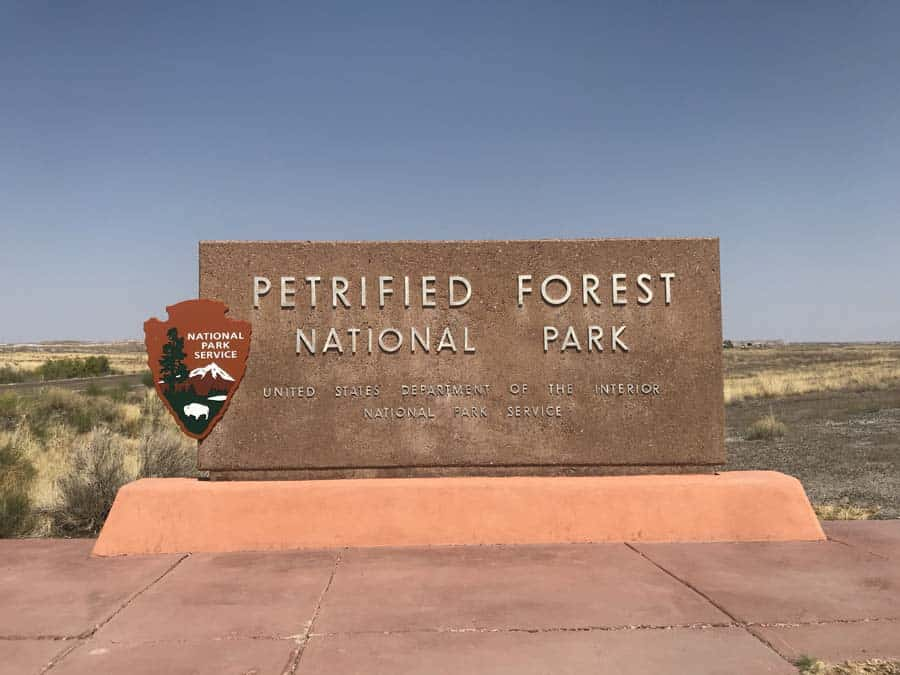 Entrance sign to Petrified Forest National Park