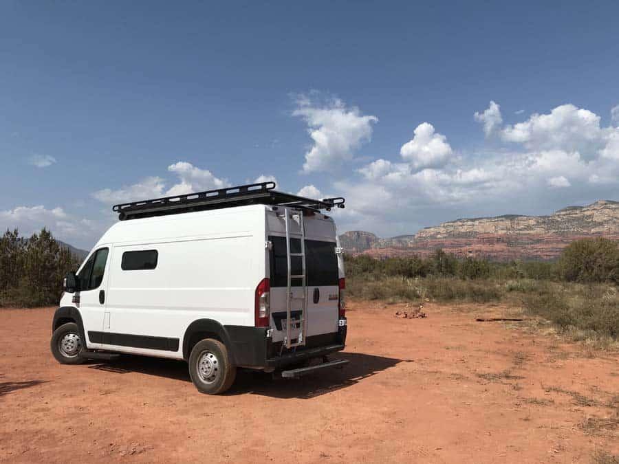 Boondocking with a view near Sedona, AZ.  Free camping in AZ
