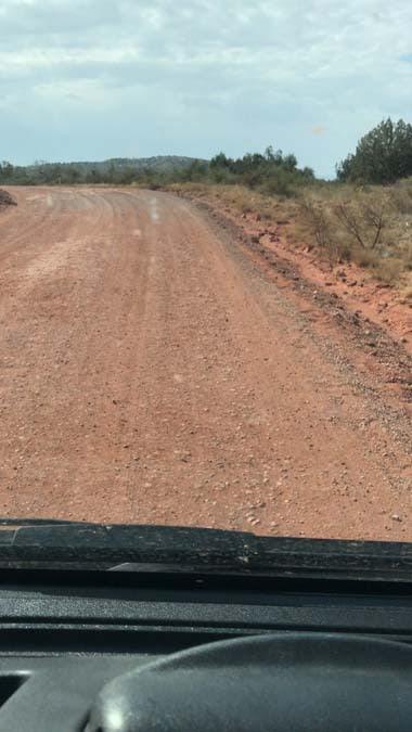Road to boondocking sites near Sedona. Free camping in Arizona