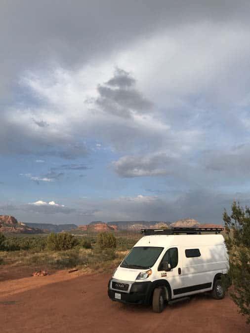 Promaster van free camping near Sedona, Arizona.  Good for women camping alone.