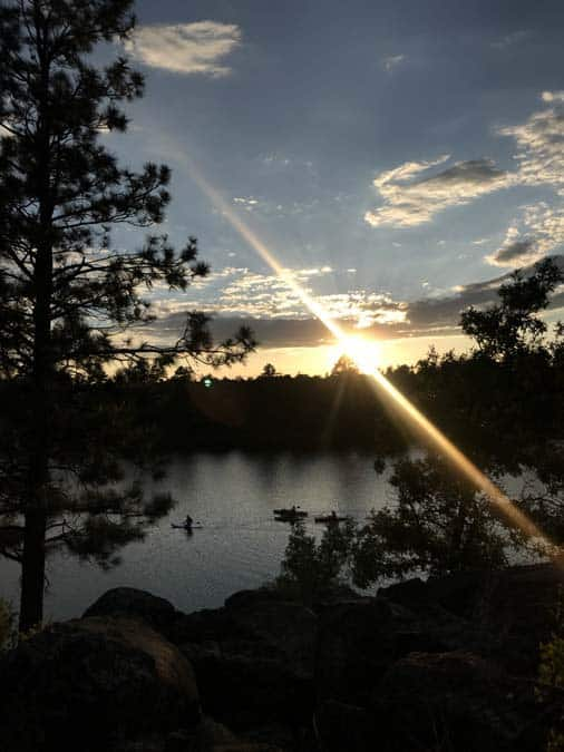 Sunset over Fool Hollow Lake. Show Low, AZ. Women camping alone.