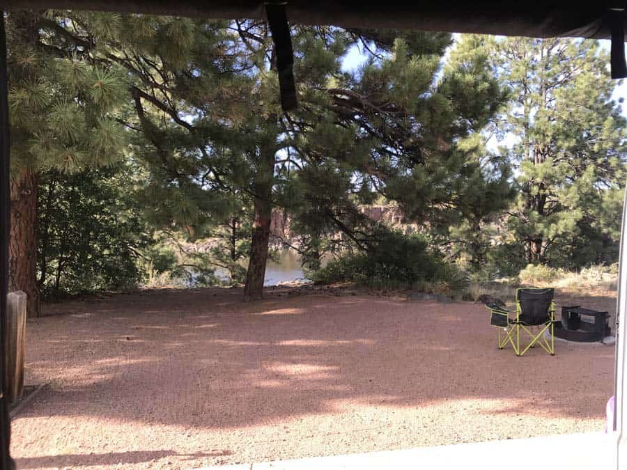 The vie from my Promaster van.  Fool Hollow Lake. Women camping alone.
