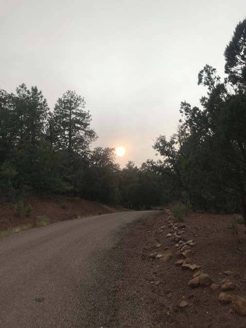 The view near my Boondockers Welcome host - the sun is very hazy due to smoke from the vast 2020 CA wildfires.